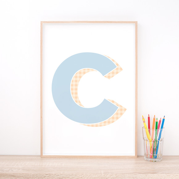 Personalised Blue Letter Art Print