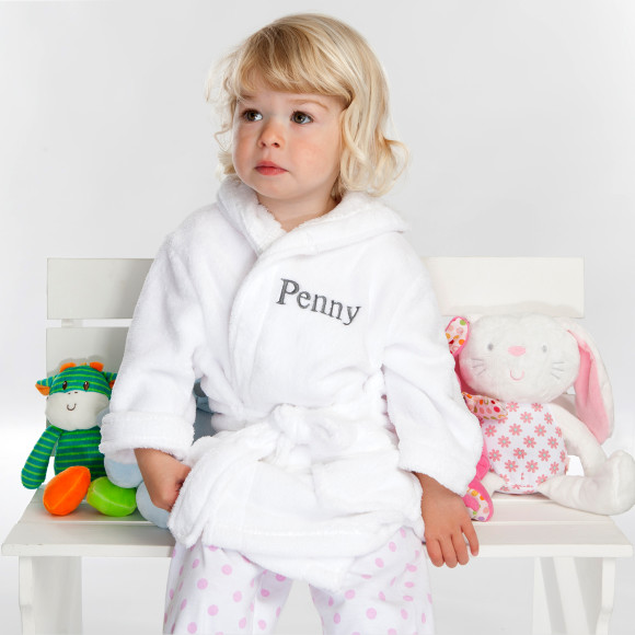 Personalised Soft Baby Or Child\'s Dressing Gown In White | hardtofind.