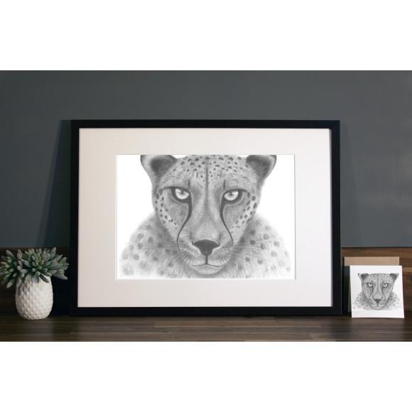 Cheetah print A3 mocha frame