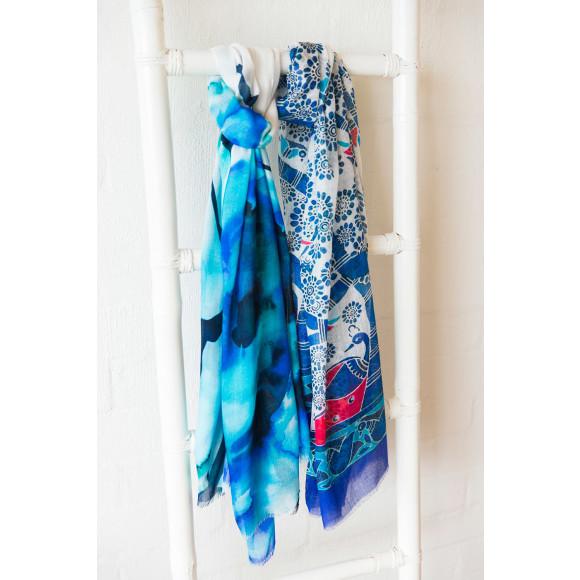 Ocean bloom scarf on Left