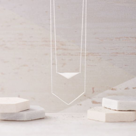 Geometric Double Layer Necklace in Silver