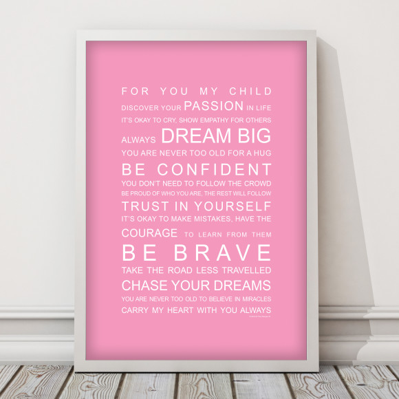 For You My Child Print in Pink, with optional Australian-made white timber frame