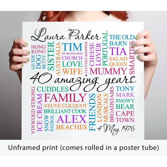 unframed print - coloured text