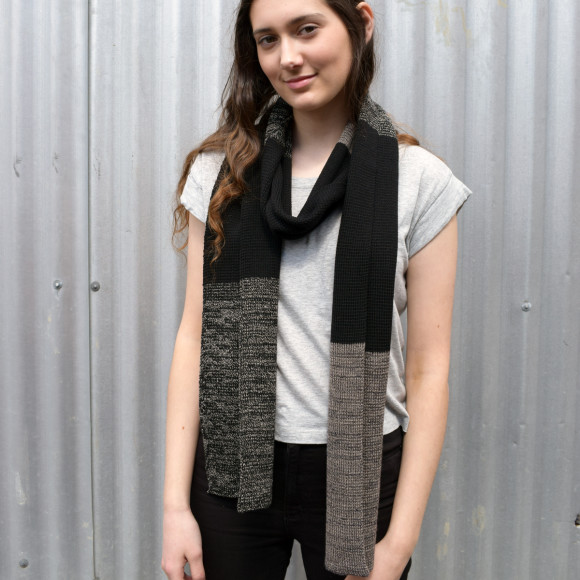Black and taupe merinow wool scarf