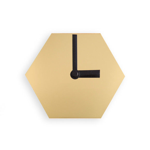 Gold mirror desk clock with black hands