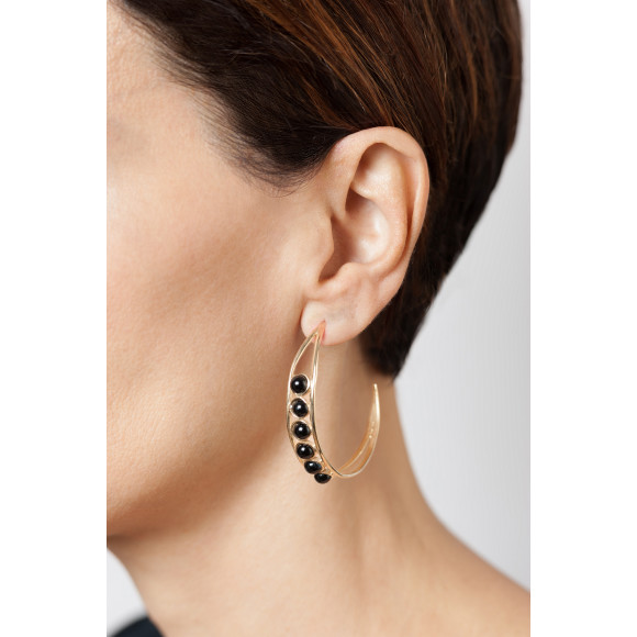Black onyx Chloe hoop earrings