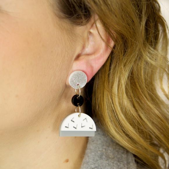 Confetti drop earrings in black, white, glitter