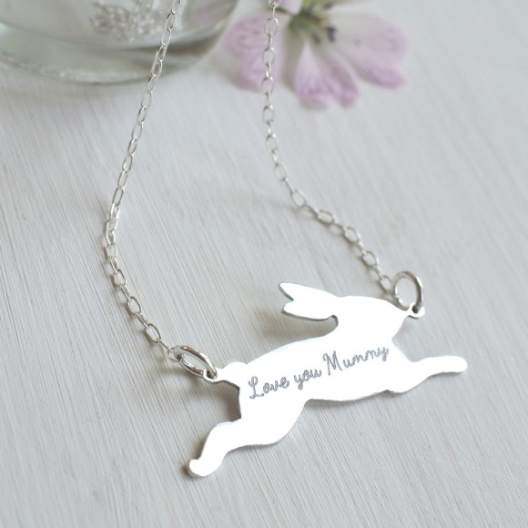 Sterling Silver Running Bunny Necklace, reverse
