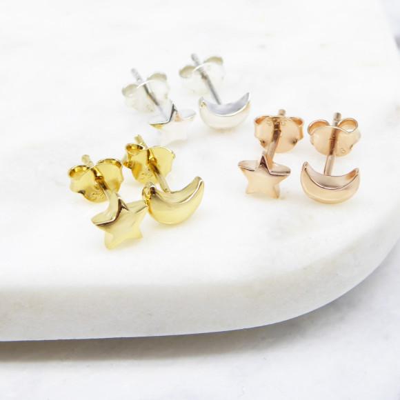 star & moon stud earrings