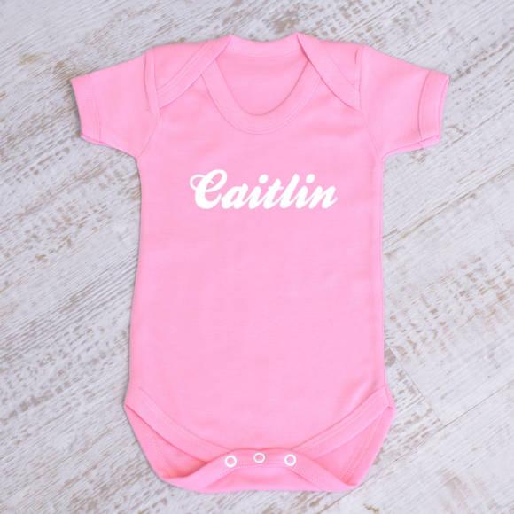 Pink baby grow vest