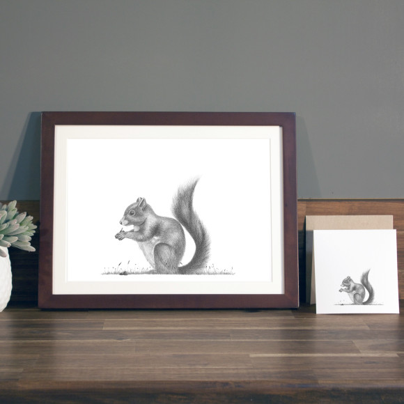 Squirrel print A4 mocha frame