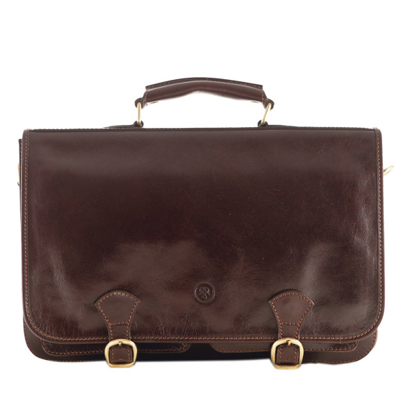 Mens leather briefcase in chocolate brown