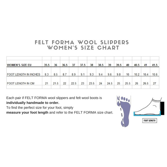 size chart wool slippers