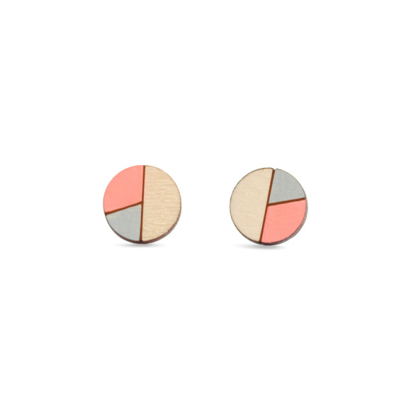 Circle geometric earrings in neon peach and grey