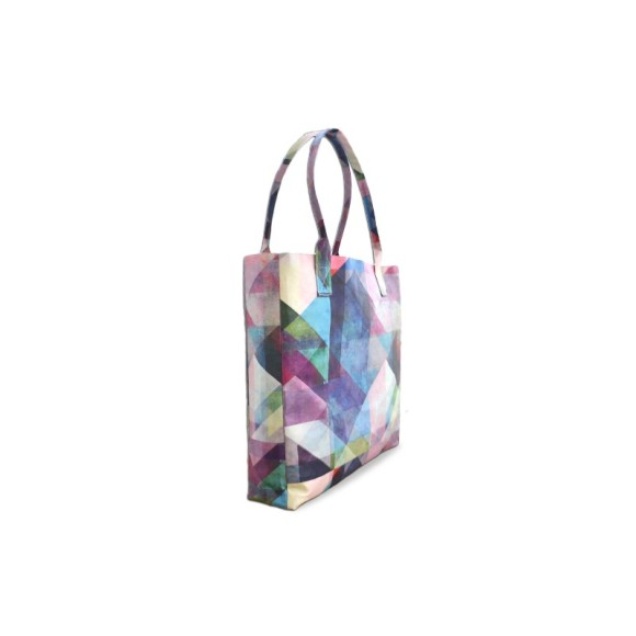 Color Blocking Geometric Vegan Leather Tote Beach Bag