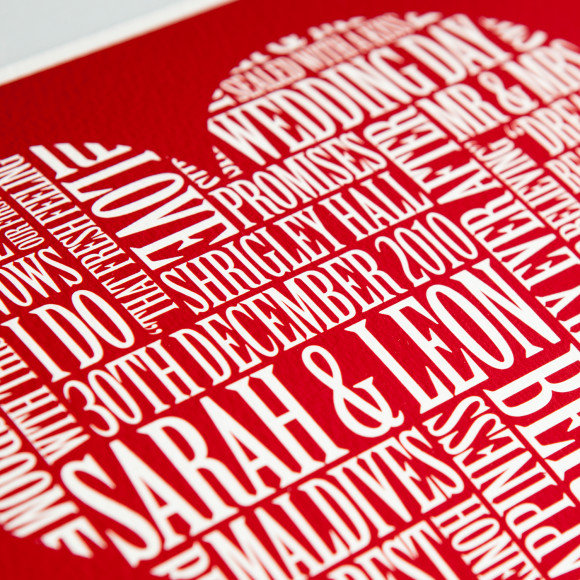 Love Heart Word Art Print Detail
