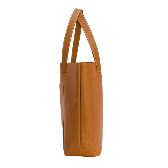 Side view of leather tote