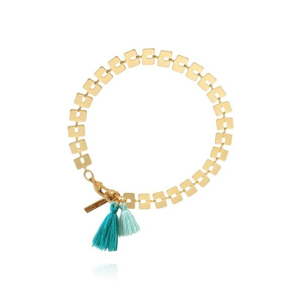 Bamboo Aqua Tassel Bracelet Gold
