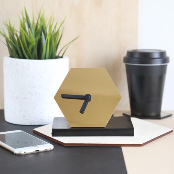 GEO desk clock in mirror gold with black hands