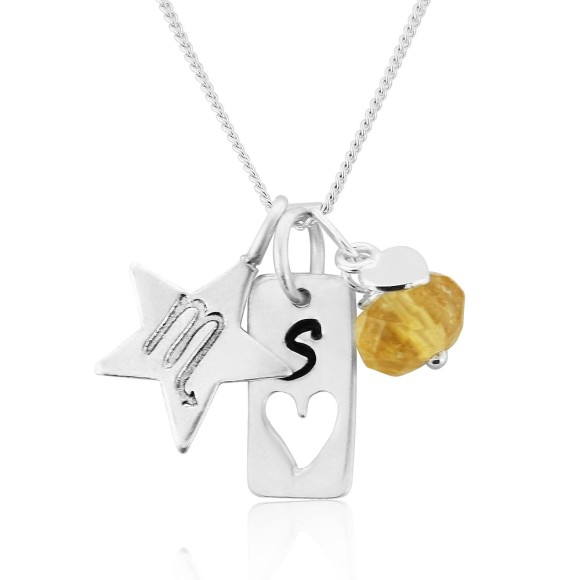 personalised zodiac and sterling silver tag charm necklace