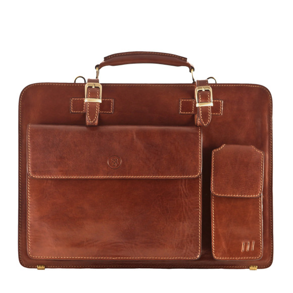 Chestnut brown leather briefcase