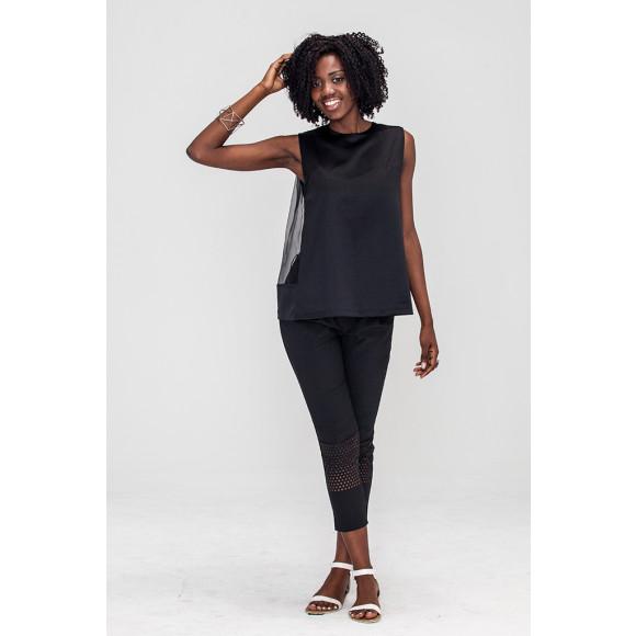 Black Satin backless mesh top