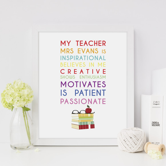 My teacher personalised print, with optional white timber frame