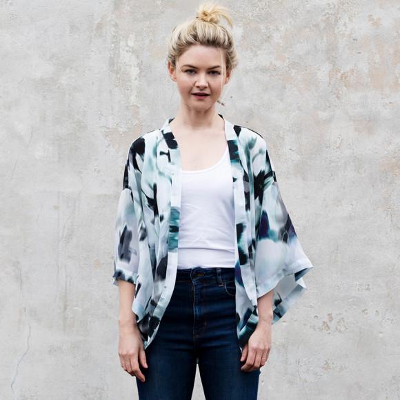 Blur Silk Kimono Top