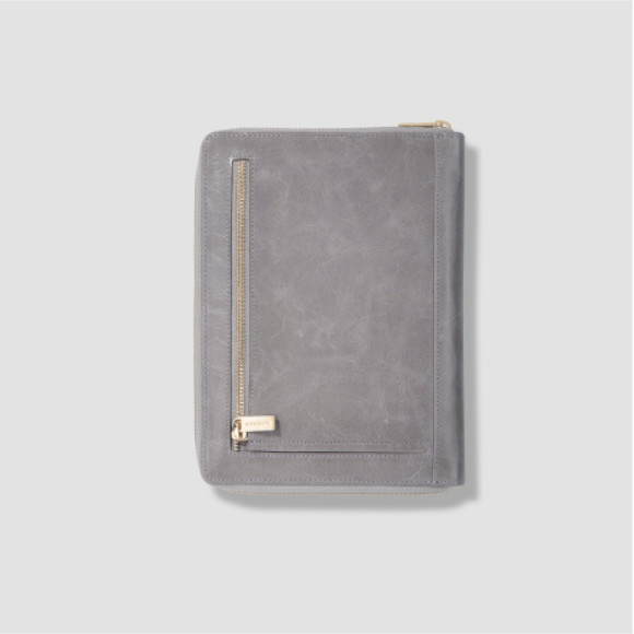 Harley A5 folio in grey with blush lining