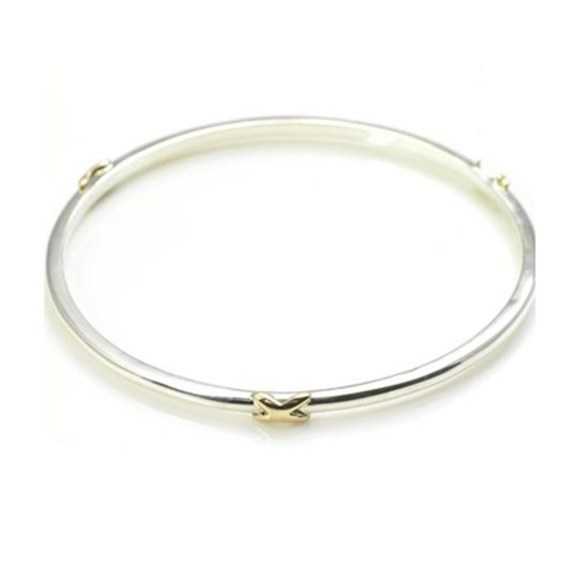 Silver Bangle with Three 9ct Gold Kisses
