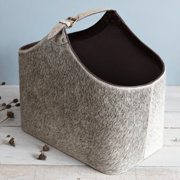 Neutral natural hide basket