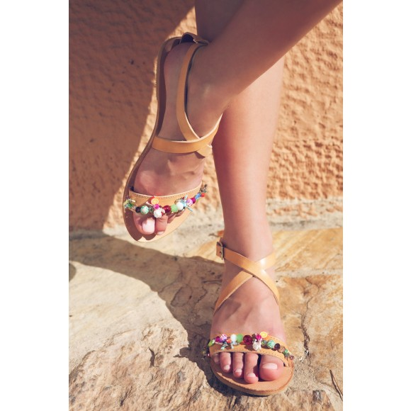 Luxury playful leather sandals