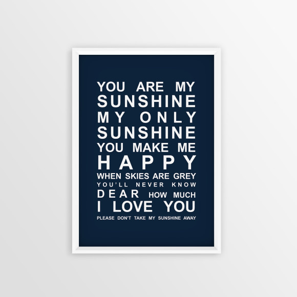 You are My Sunshine Bus Roll Print with optional white timber frame, in Navy