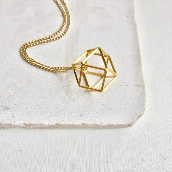 Geometric Three Dimensional Pendant Necklace