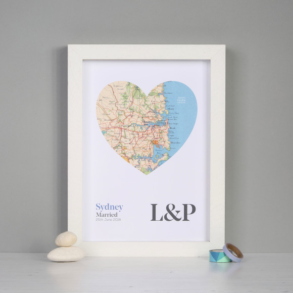 Personalised map heart wedding or anniversary print | hardtofind.