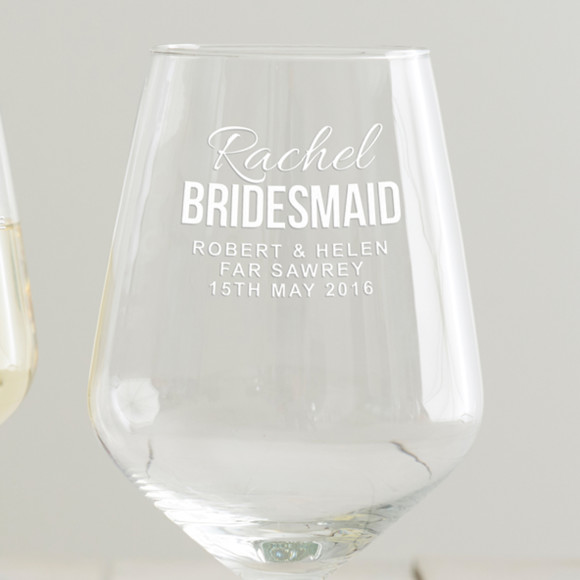 Personalised Bridesmaid Wine Glass