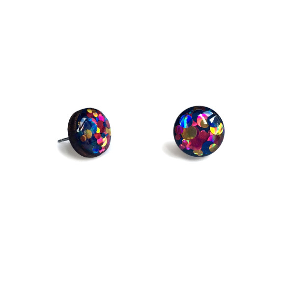 Circle glitter earrings - multi coloured