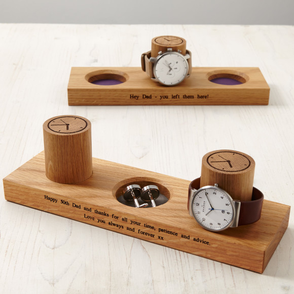 Cufflink tray and watch stand with indigo faux leather