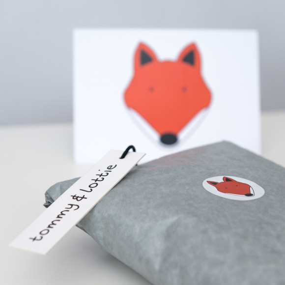Free Fox postcard tissue wrapped with little stickers.