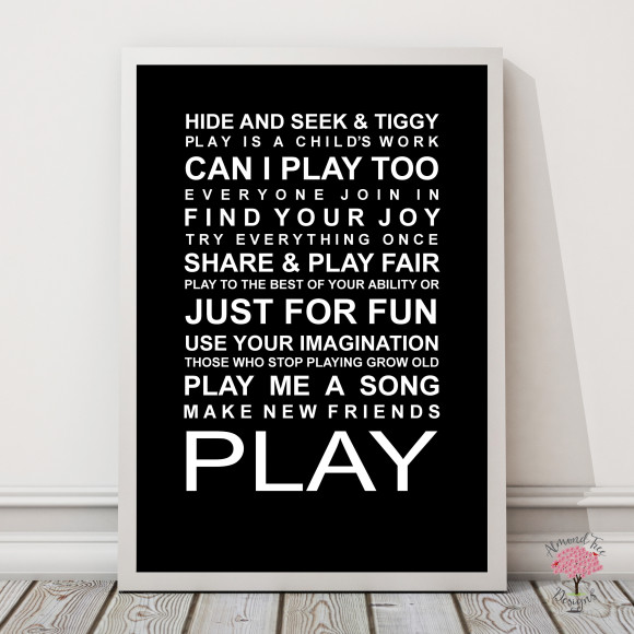 Expressions of your childhood playroom rules print in Black, with optional Australian-made white timber frame