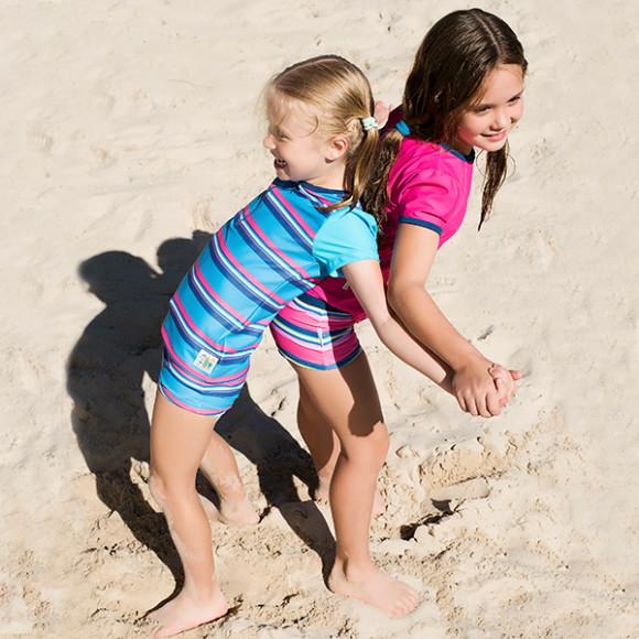 Maya wears Sunshine Aquamarine and Katrina wears Sunshine Desire