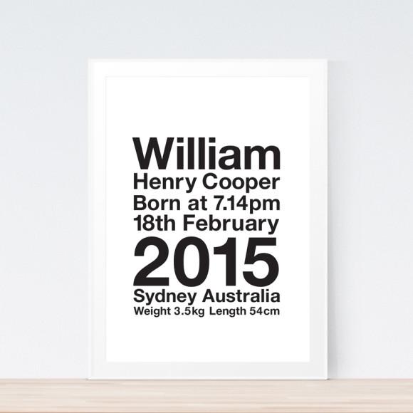 Birth Print Framed