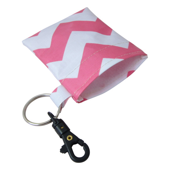 pink chevron coin pouch