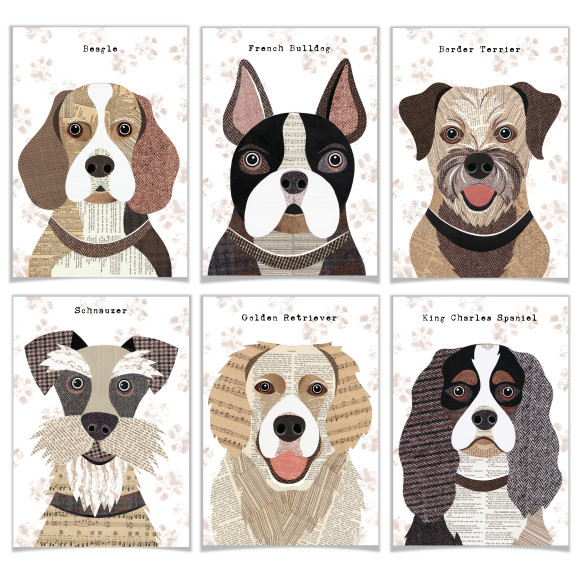 Set of 6 dog cards (54 breeds)