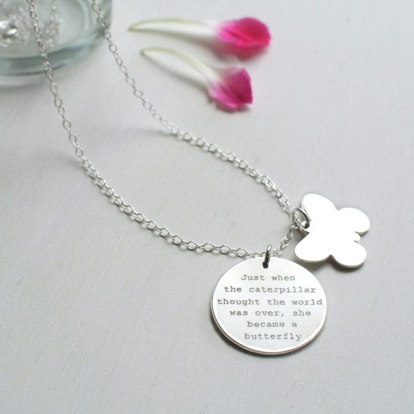 Sterling Silver Butterfly and Disc Quote Necklace
