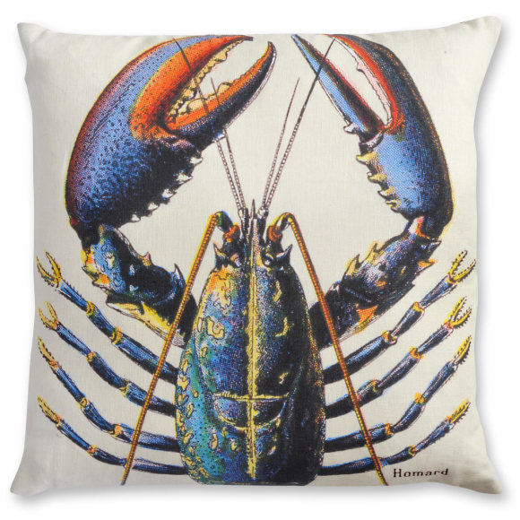French Lobster linen cushion cover