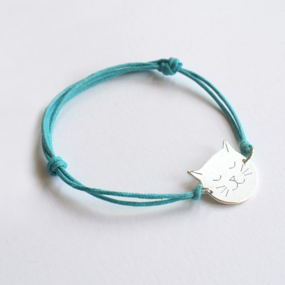 Frida Cat Face bracelet turquoise
