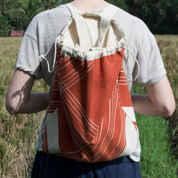 Orange stripe backpack/tote