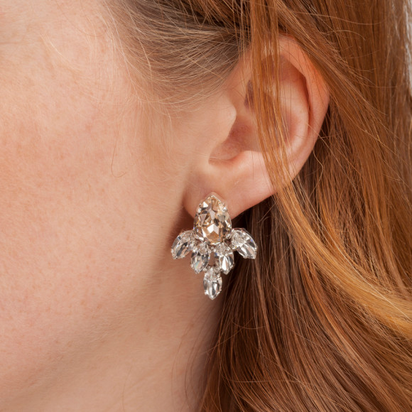 Model wearing Silk Crystal Pear Bridal Earrings