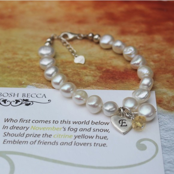 childs freshwater pearl christening bracelet with citirne birthstone for november birthdays
